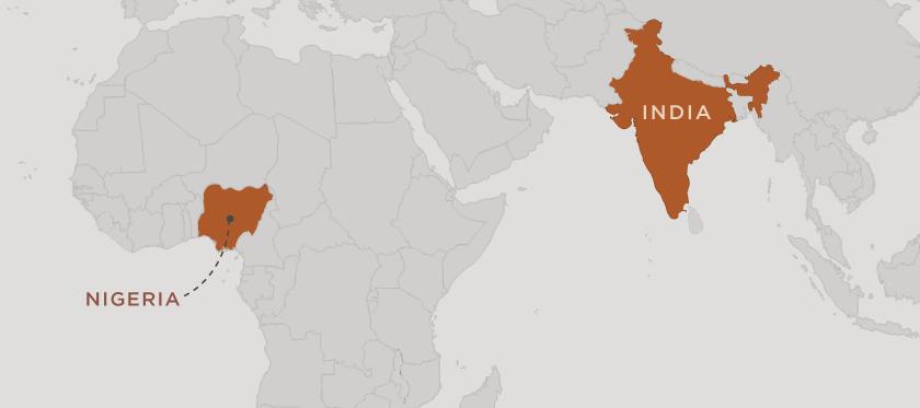 world map highlighting nigeria and india