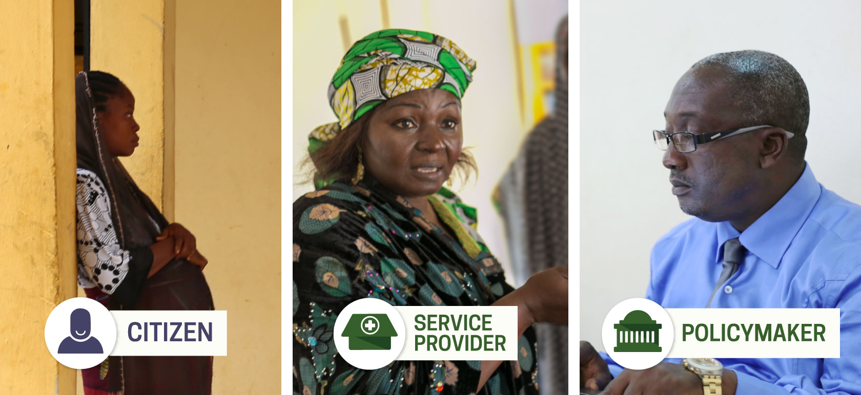 A photo of the three types of actors we worked with: citizens, service providers, and policymakers