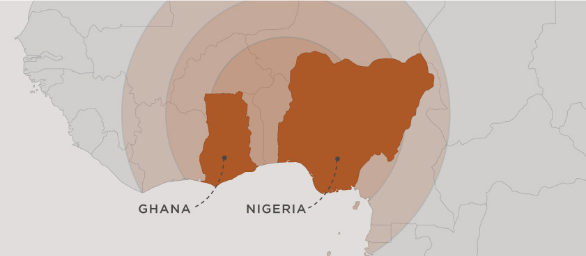 map of ghana and nigeria within west africa